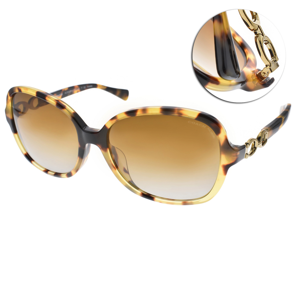 COACH偏光太陽眼鏡 經典扣環/琥珀#COS8123F 5175T5 @ Y!購物