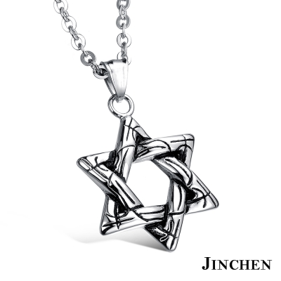 JINCHEN 白鋼六芒星項鍊-銀色