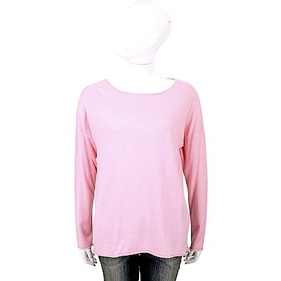 ALLUDE 喀什米爾粉色捲邊細節素面針織羊毛衫