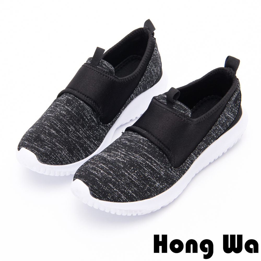 Hong Wa - 特色雪花休閒運動懶人布鞋-黑