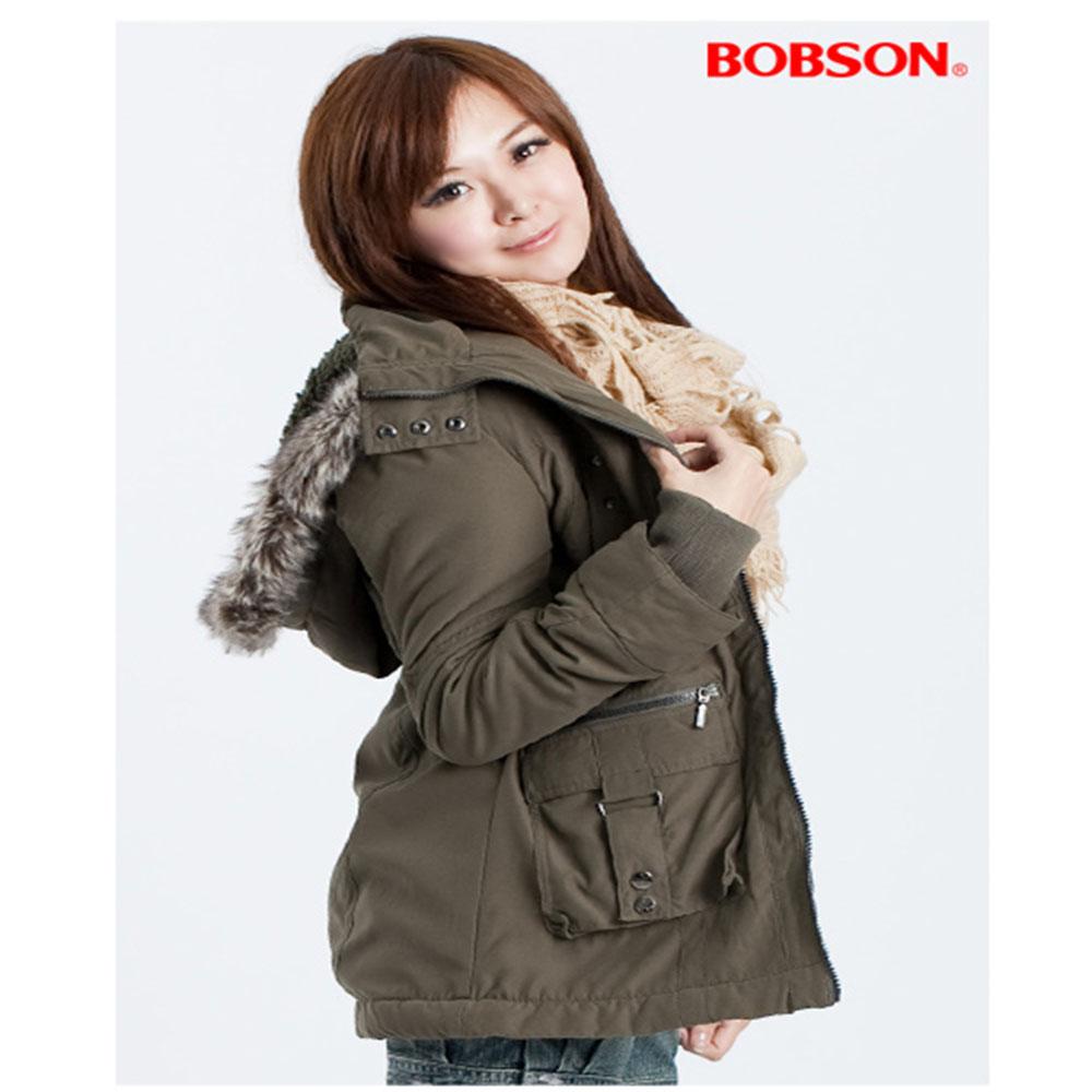 【BOBSON】張韶涵代言可拆連帽絨毛外套(綠41)