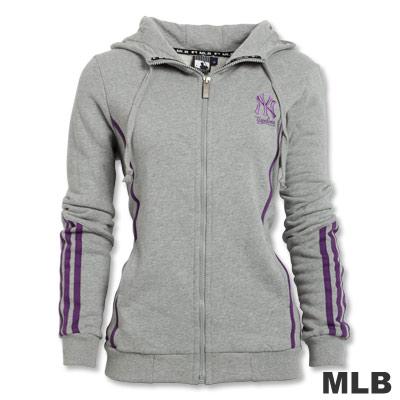 MLB-紐約洋基隊撞色紫條外套-灰(女)