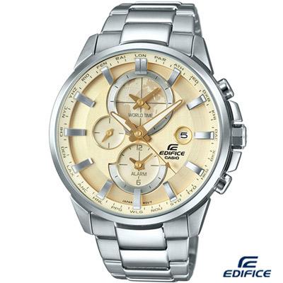 EDIFICE 新世界地圖鬧鈴錶(ETD-310D-9A)-香檳金色/45.3mm