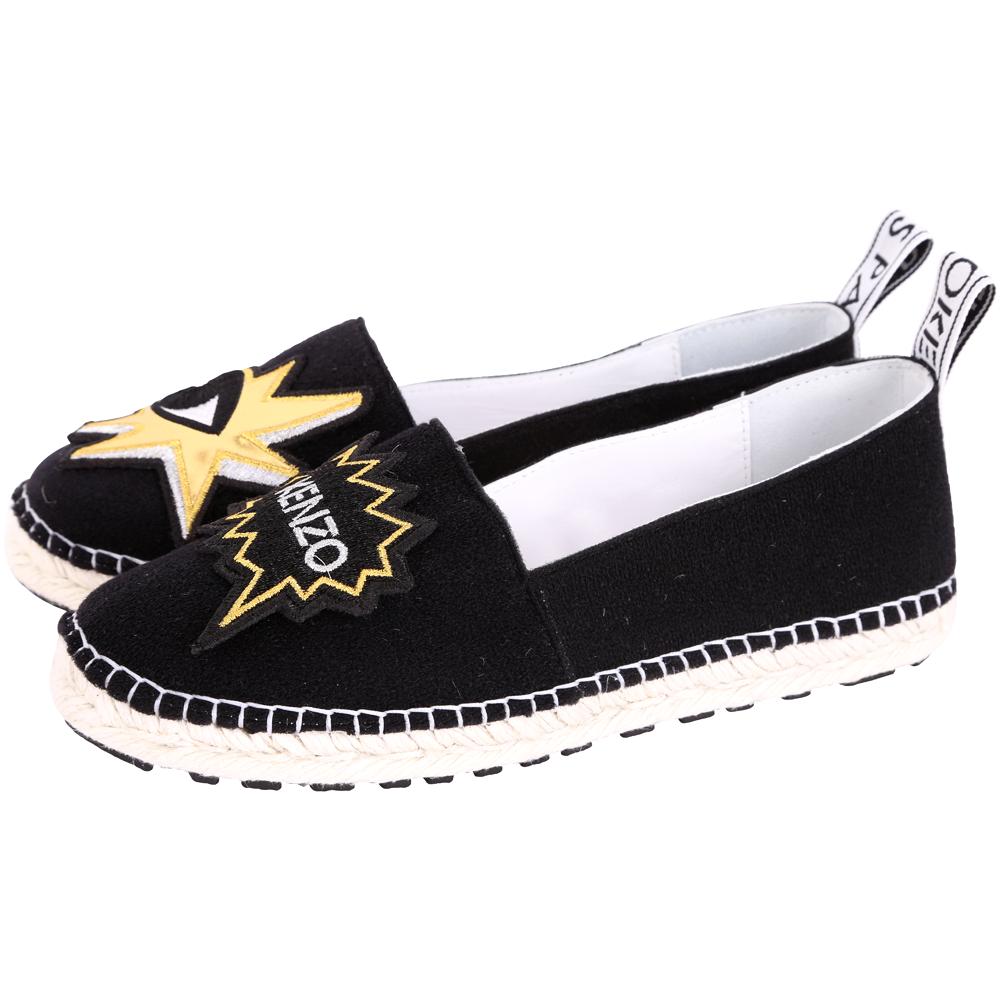 KENZO K-Patch Espadrilles 金眼睛補丁草編便鞋(女款/黑色)