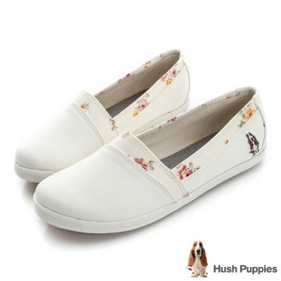 Hush Puppies 仙氣飄飄咖啡紗TiTi懶人鞋-米白