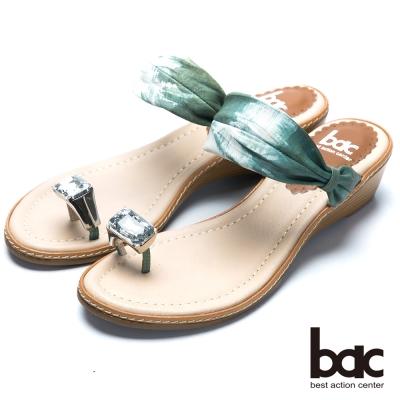 bac裸肌美腳 寶石水鑽夾腳鞋-綠色