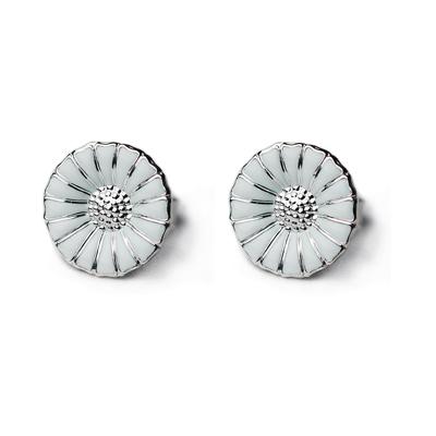 Georg Jensen Daisy 純銀+白琺瑯雛菊針式耳環