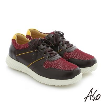 A.S.O 輕量抗震 真皮綁帶奈米機能休閒鞋 酒紅色