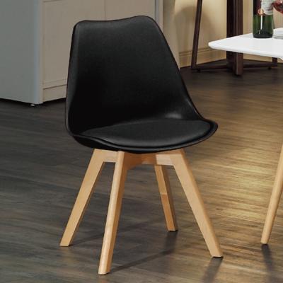 AS-輕巧休閒皮座墊椅-低調黑-46x43x83cm