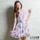 LIYO理優洋裝印花雪紡洋裝(紫)