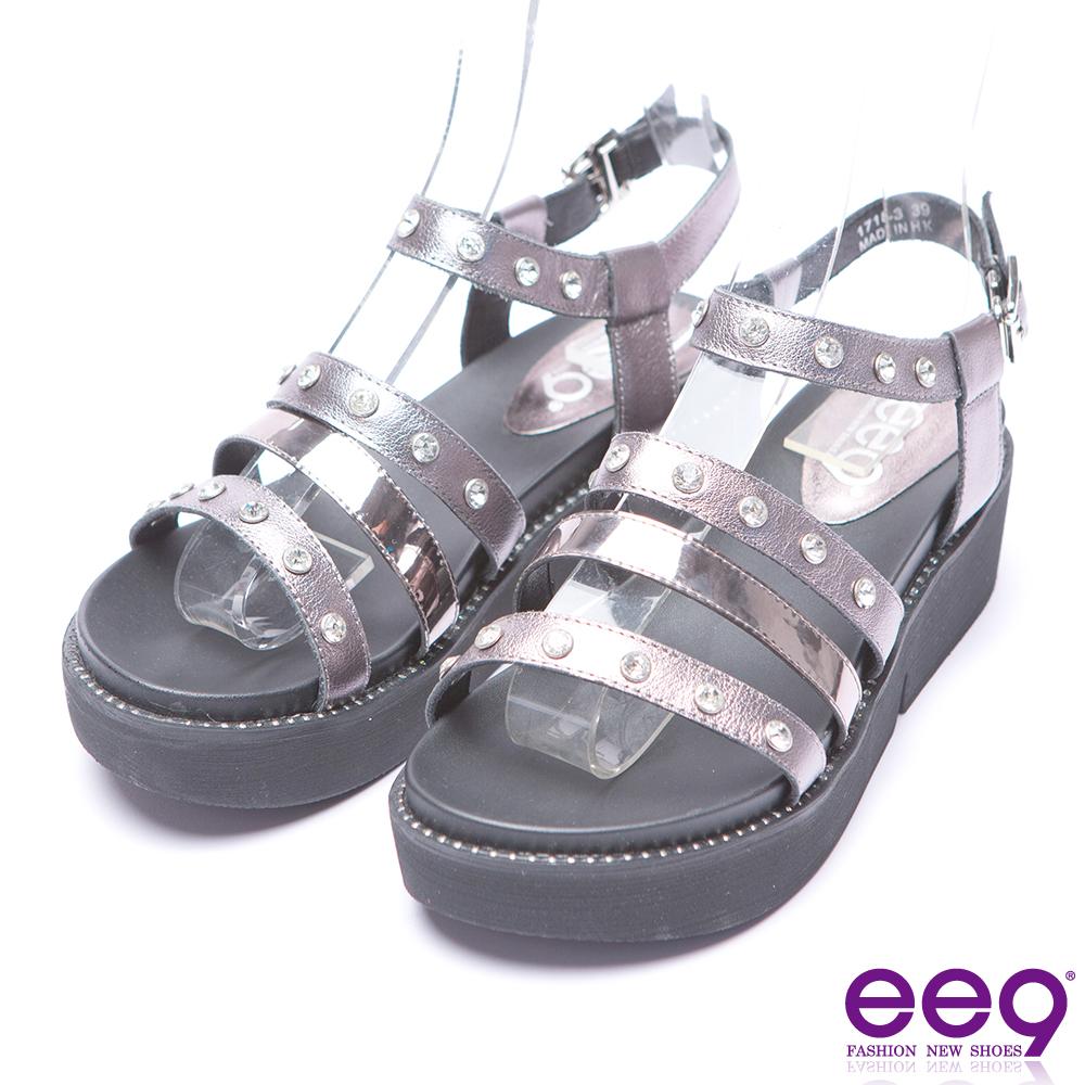 ee9 率性焦點靚亮鑽飾厚底涼鞋-鐵灰