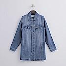 Hang Ten - 女裝 - 刷色長版牛仔外套-藍