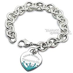 (無卡分期12期) Tiffany&Co. 童趣愛心吊飾925純銀手鍊