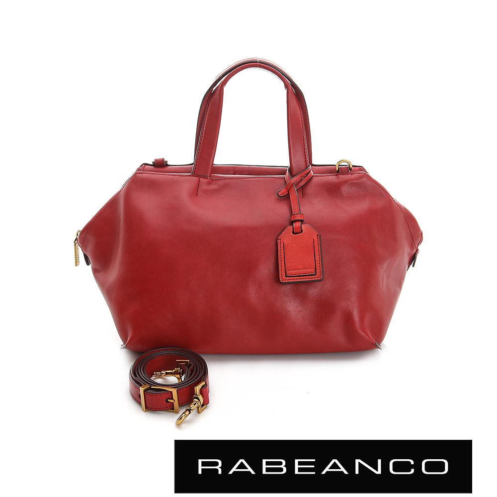 RABEANCO 迷時尚牛皮系列梯形多WAY包 - 紅