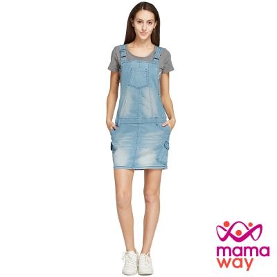 孕婦裙 吊帶裙 孕期牛仔吊帶裙(共二色) Mamaway