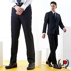 極品西服 雅致風尚仿毛條紋平面西裝褲_深藍(BS735-1)
