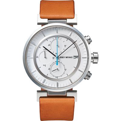 ISSEY MIYAKE 三宅一生W系列 三眼計時腕錶SILAY008Y-咖啡/43mm