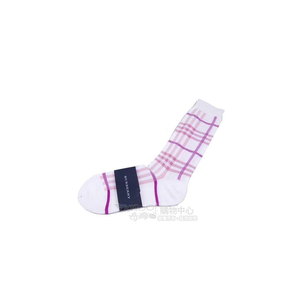 BURBERRY 經典品牌大格紋半統襪(米白)