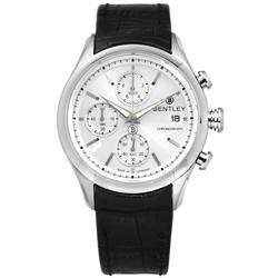 BENTLEY 賓利 三眼計時 日期 日本機芯 德國製造 真皮手錶-銀x黑/43mm