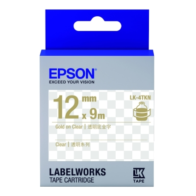 EPSON C53S654409 LK-4TKN透明系列透明底金字標籤帶(寬度12mm)