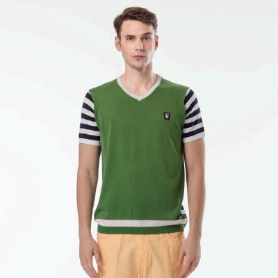 歐洲貴族oillio-V領線衫-完美剪裁-拼貼質感