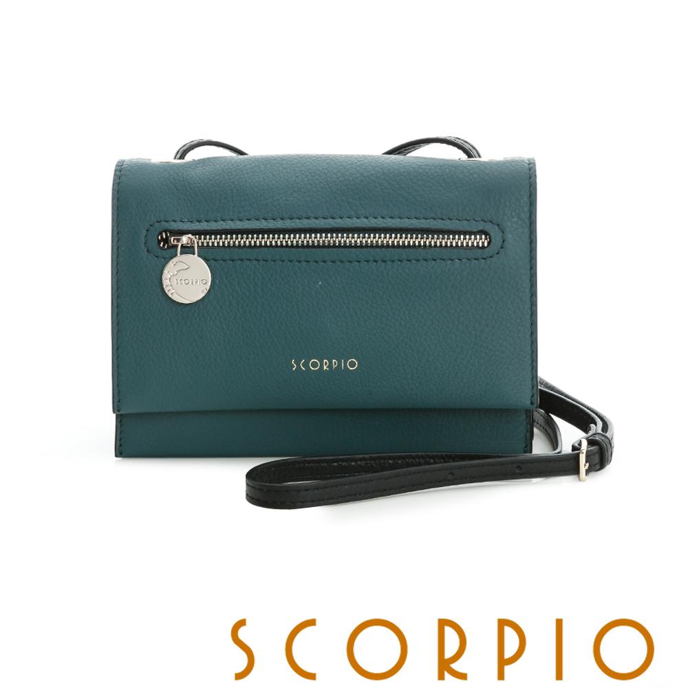 SCORPIO 優質真牛皮革系列雙層斜背小包 藍綠