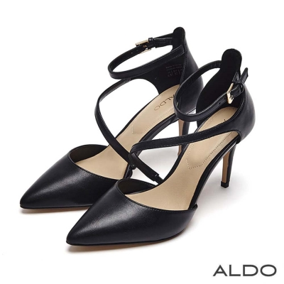 ALDO 原色幾何斜邊鏤空尖頭細高跟鞋~尊爵黑色