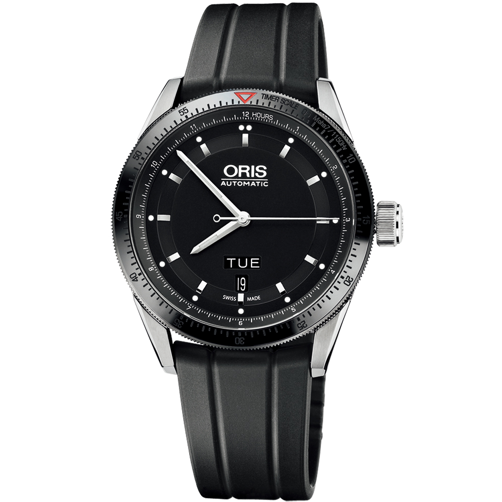 Oris Artix GT Day- Date 單向轉圈機械腕錶-黑x橡膠錶帶/42mm