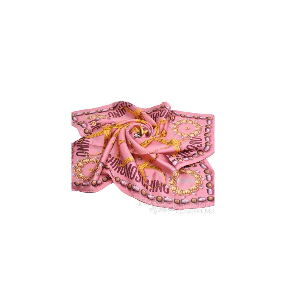 MOSCHINO 設計服裝元素圖騰大絲巾(粉紅)