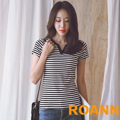 小V領休閒短袖棉T恤 (共二色)-ROANN