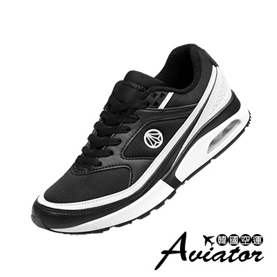 Aviator*韓國空運-Paperplane正韓製透氣網布氣墊運動鞋-黑白