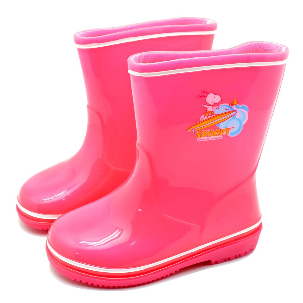 Snoopy史努比 高彩度安全果凍雨鞋-桃(14.0-22.0)