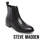 STEVE MADDEN-ORCHID-BLACK-素面真皮短靴-黑色