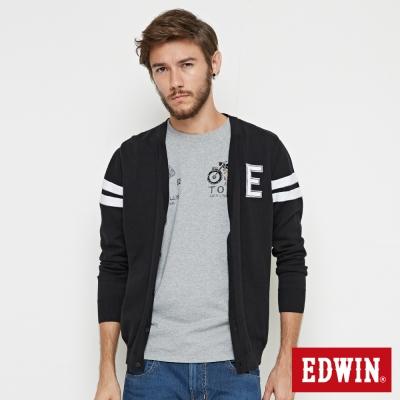 EDWIN E字長袖開襟外套-男-黑色