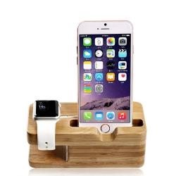 二合一竹木手機底座 Apple Watch+iPhone充電架/手機座