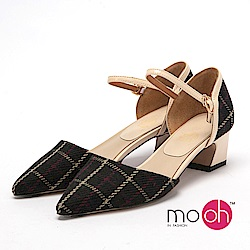 mo.oh-氣質格紋尖頭繞帶低跟鞋