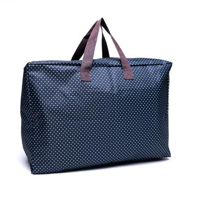 DF Queenin - 牛津布實用款大收納旅行袋-深藍點