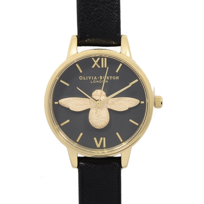 Olivia Burton 3D立體蜜蜂 黑色真皮錶帶 黑錶面金框-30mm