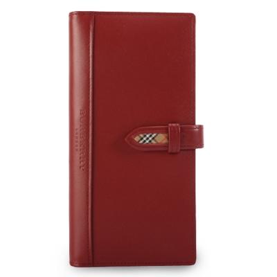 BURBERRY年度限量素面皮革長型穿扣手帳冊-軍紅色