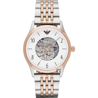Emporio Armani 貝達系列鏤空機械腕錶-白x雙色版/41mm