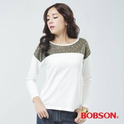 BOBSON  女款緹織布.寬版上衣-白色