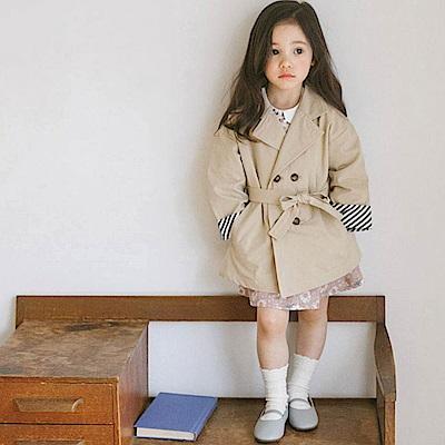 BEBEZOO 卡其綁帶韓風雙排長版風衣