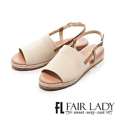 Fair Lady 度假風簡約寬帶魚口編織涼鞋 膚