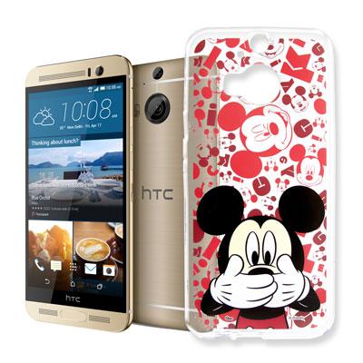 迪士尼 HTC One M9+ 大頭背景透明手機軟殼(摀嘴米奇)