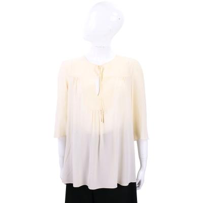 Max Mara 甜美設計米色寬袖絲質上衣