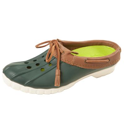 (男/女)Ponic&Co美國加州環保防水洞洞半包式拖鞋-深綠色