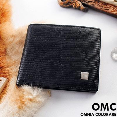OMC - 韓國質感牛皮木紋款真皮6卡2照固定式左右翻短夾