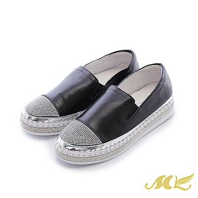 MK-晶鑽真皮-閃耀水鑽素面厚底懶人鞋-黑色