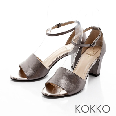 KOKKO-復古風潮真皮魚口粗跟踝帶涼鞋-懷舊銀