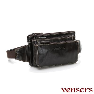vensers小牛皮潮流個性包~腰包(N20101黑油皮)